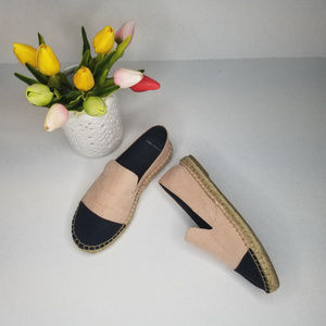 Zara Two Tone Contrasting Canvas Pink Flats